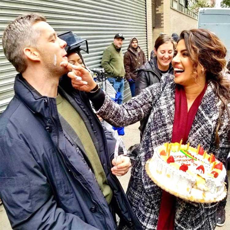 Priyanka Chopra celebrating co-star's birthday on Quantico 3 sets