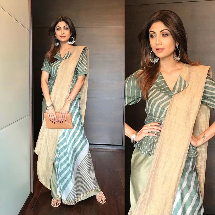 Shilpa Shetty's funky touch to the saree is amazing