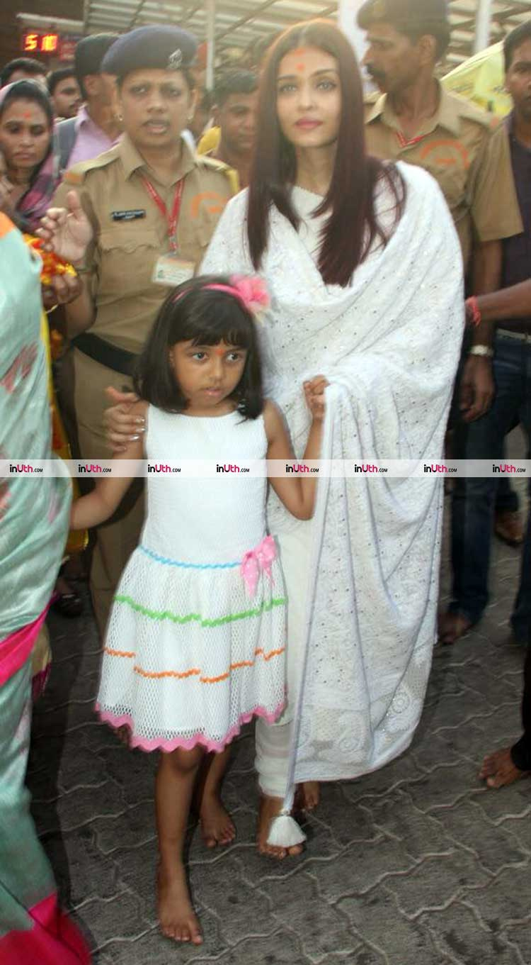 Aishwarya Rai with daughter and mother at Siddhivinayak temple in Mumbai