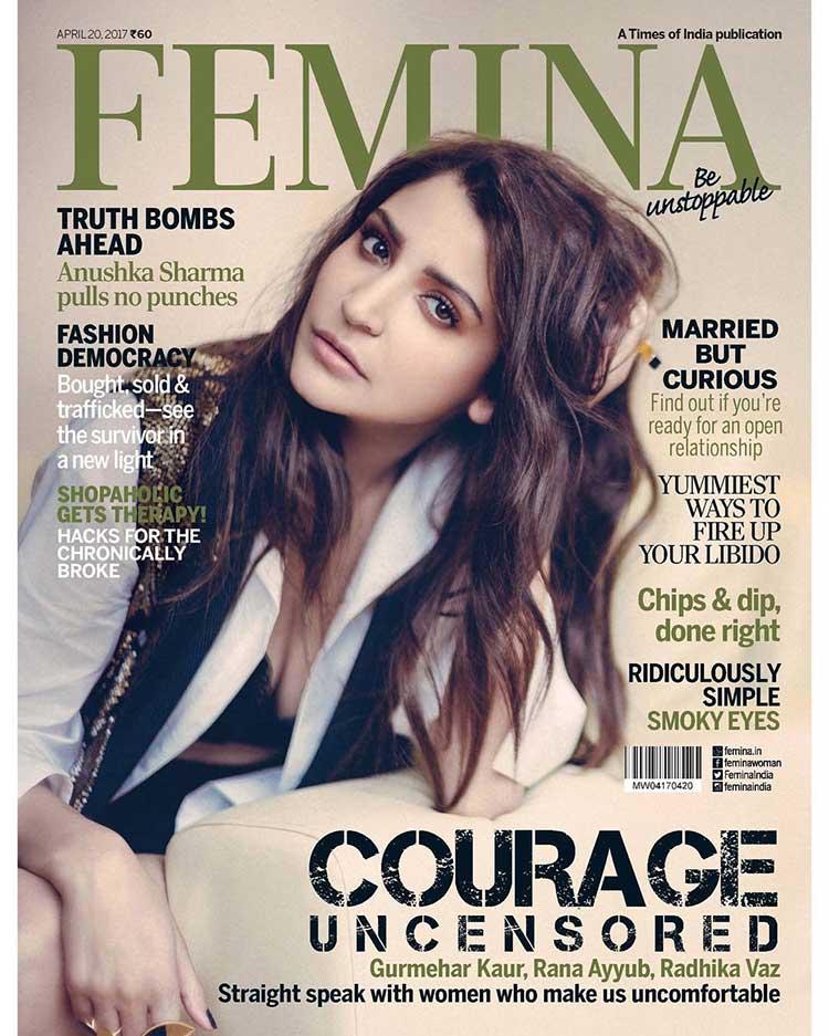 Anushka Sharma on the April 2017 cover of the Femina magazine
