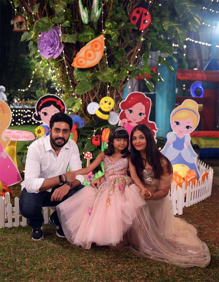 Birthday girl Aaradhya with Aishwarya Rai and Abhishek Bachchan