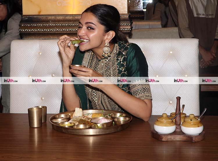 Deepika Padukone celebrating Padmaavat release over a Rajasthani thali