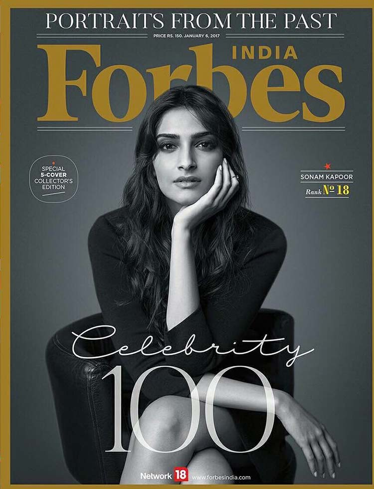 Sonam Kapoor on the January 2017 cover of the Forbes magazine