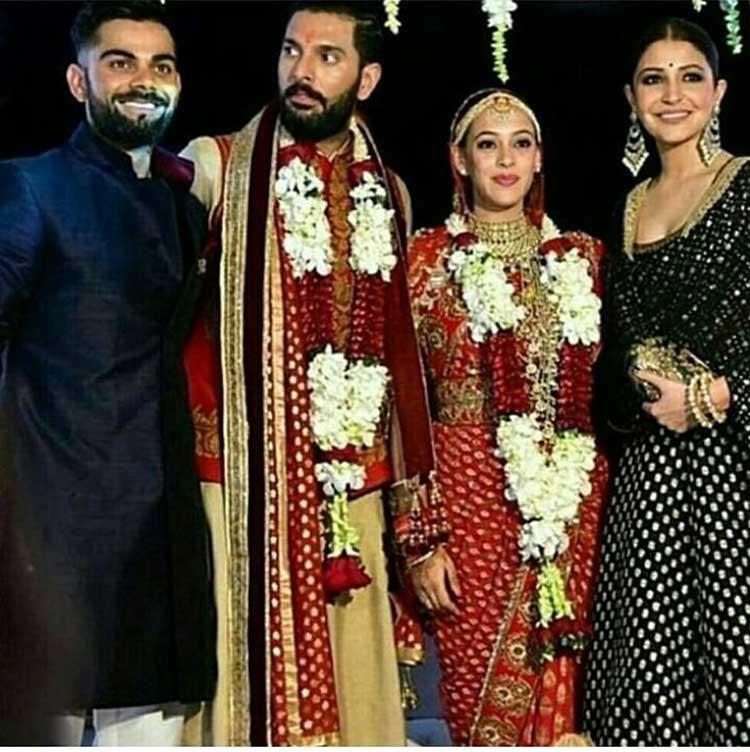 Virat Kohli and Anushka Sharma at Yuvraj Singh's wedding