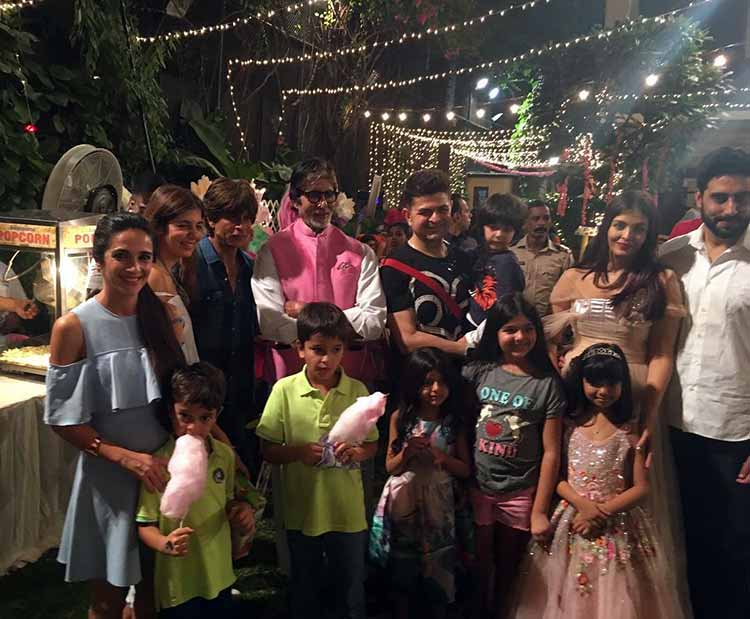 Aaradhya Bachchan with the guests at her party