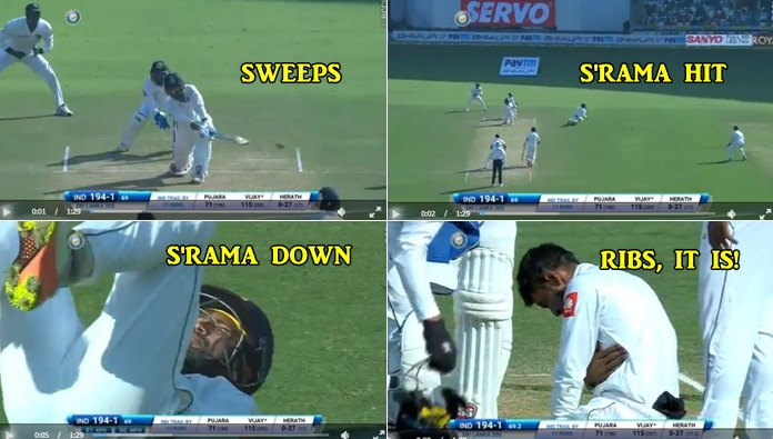 Murali Vijay's sweep shot injures Samarawickrama's rib-cage, sends him out of the ground — WATCH