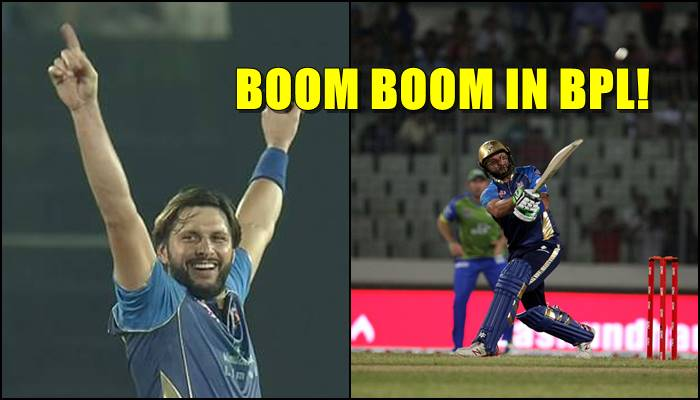 Shahid Afridi still killing it after retirement, bags a 4-fer and scores 37 off 17 balls in BPL 2017 —WATCH