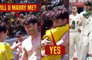 Boy proposes girlfriend during 1st Ashes Test at the Gabba's pool deck - Watch Video