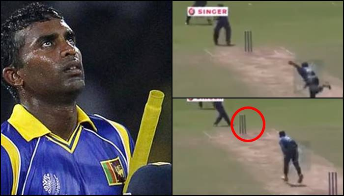 Chamara Silva tries to invent a new shot going behind the stumps, fails miserably — WATCH