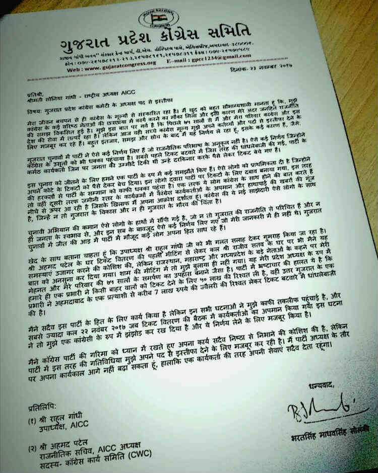 Gujarat, Congress Chief, Bharatsinh Solanki, Resignation Letter, Viral