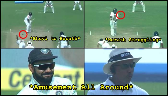 Virat Kohli, on-field umpire amused after Rangana Herath survives Bhuvneshwar Kumar's lethal swing – Watch