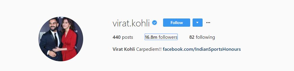 Virat Kohli's Instagram Account