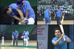 Sachin Tendulkar playing indoor cricket, Sachin Tendulkar UNICEF, Sachin Tendulkar with UNICEF kids, World Children's day