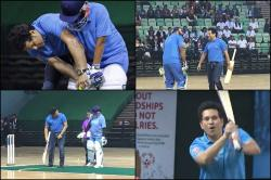 Sachin Tendulkar plays indoor cricket on World Children's Day, helps young cricketers — WATCH