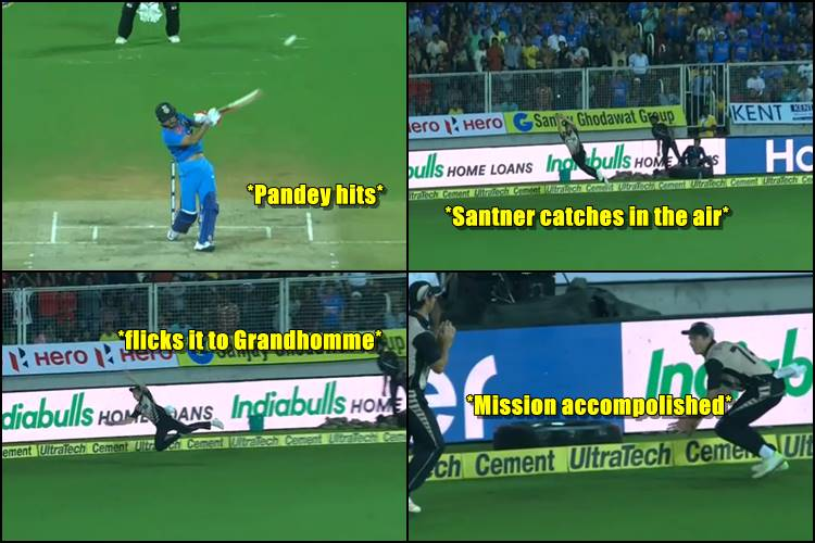 Mitchell Santner's 'flying in the air act' to dismiss Manish Pandey will STUN you –Watch