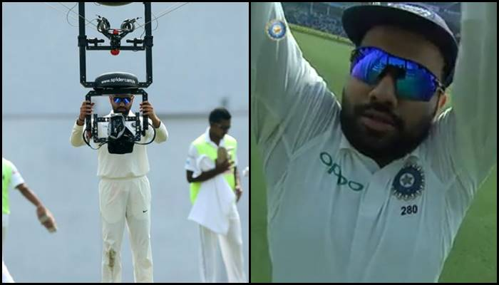 Rohit Sharma's on-field act with spider cam during 1st Test is must watch – Video