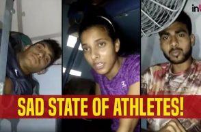 Athletes forced to sleep on train floor