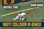 Mitchell Starc left bloodied after colliding with Shaun Marsh during 1st Ashes Test at Gabba — VIDEO