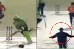 Pakistani umpire calls yorker a wide ball