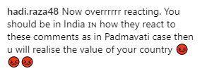 Comment on Mahira Khan's Instagram Post