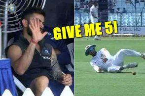 Virat Kohli, Bhuvneshwar Kumar, Umpire Nigel Llong, India vs Sri Lanka 1st Test, Kolkata Test, Eden Gardens, Dinesh Chandimal, Virat Kohli angry, Virat Kohli angry at Umpire, ICC laws, ICC fake fielding laws, ICC fake fielding penalty, Dinesh Chandimal fake fielding
