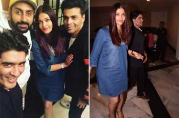 Karan Johar, Aishwarya Rai, Abhishek Bachchan party with Manish Malhotra