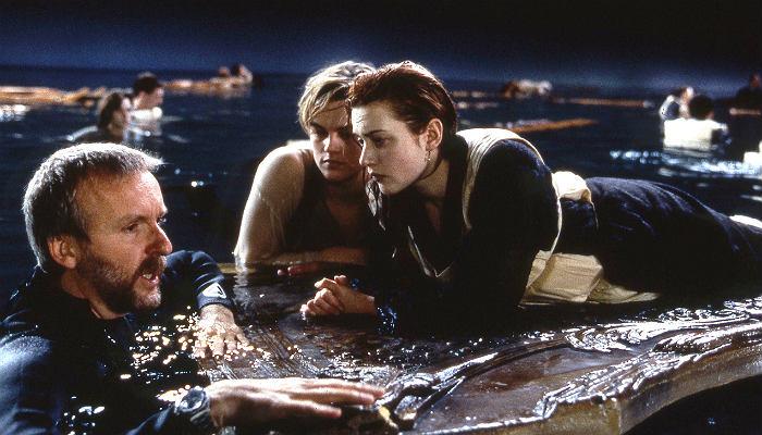 James Cameron with Kate Winslet and Leonardo Di Caprio, Titanic