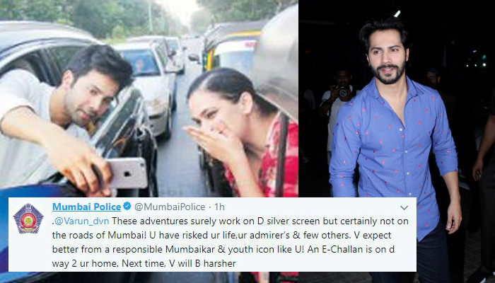 Varun Dhawan takes selfie with a fan on road, Mumbai Police sends him a challan