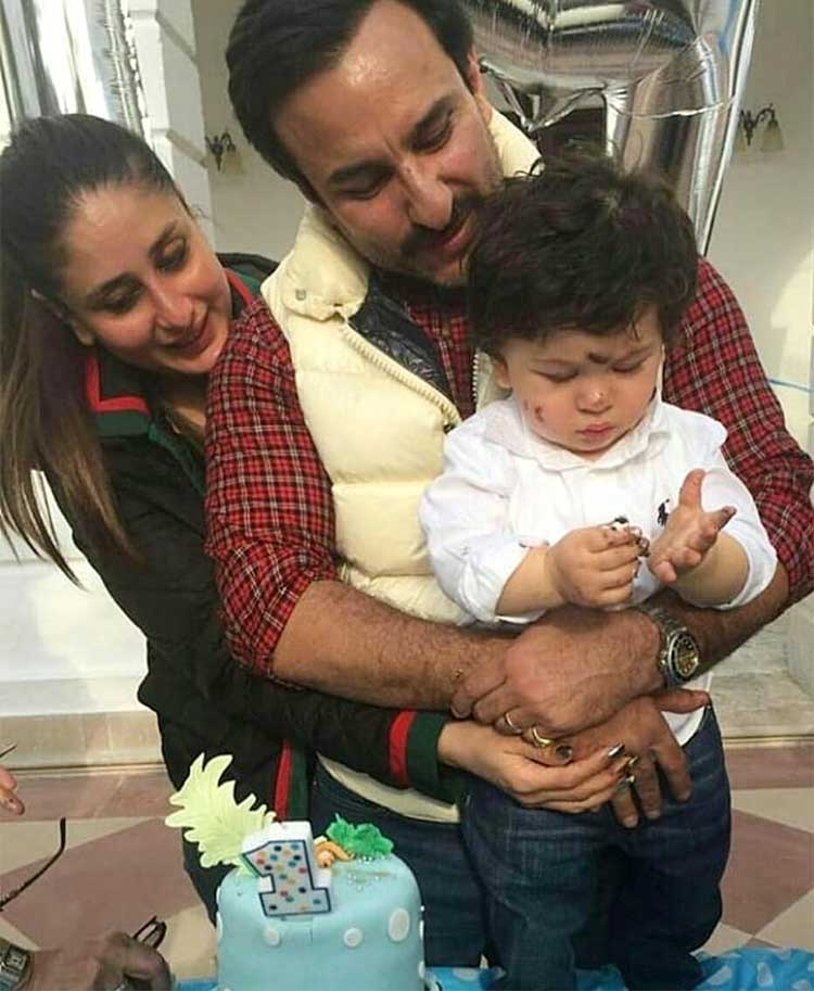 Taimur celebrating his first birthday with Saif and Kareena