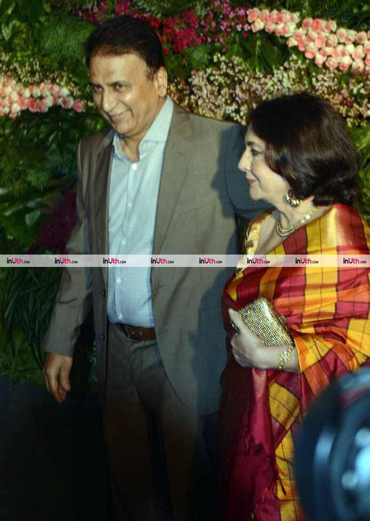 Sunil Gavaskar at Virat Kohli and Anushka Sharma's wedding reception