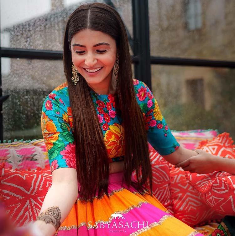 Anushka Sharma in Sabyasachi for her mehendi