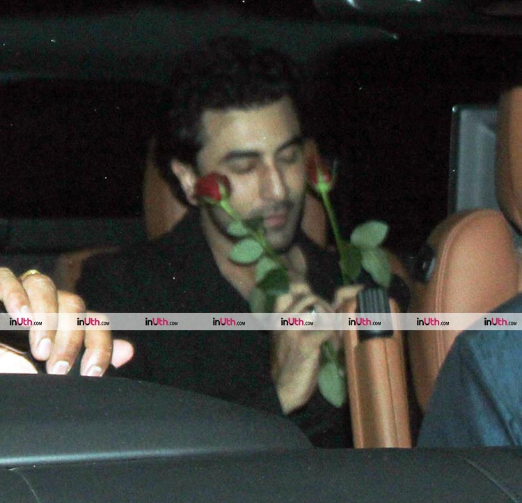 Ranbir Kapoor exiting the Christmas party hosted by Karan Johar