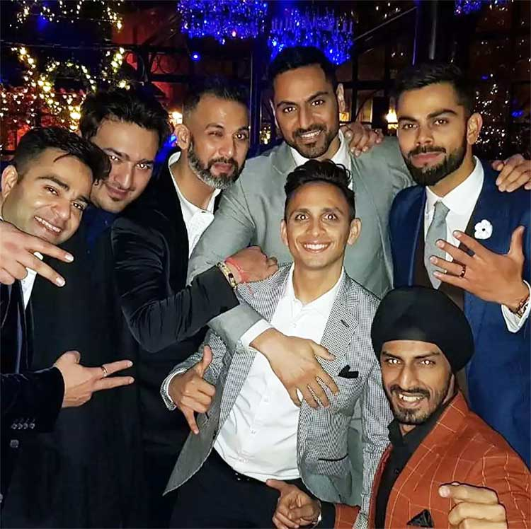 Virat Kohli with his friends at his engagement party