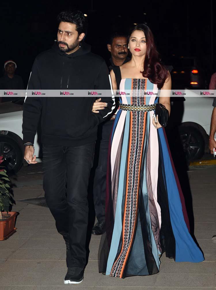 Aishwarya Rai and Abhishek Bachchan arriving at Bunty Walia's birthday party