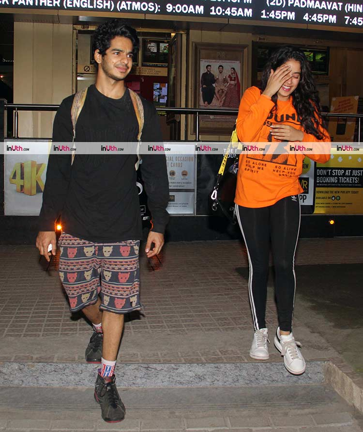 Ishaan Khatter and Jahnvi Kapoor spotted on a movie date