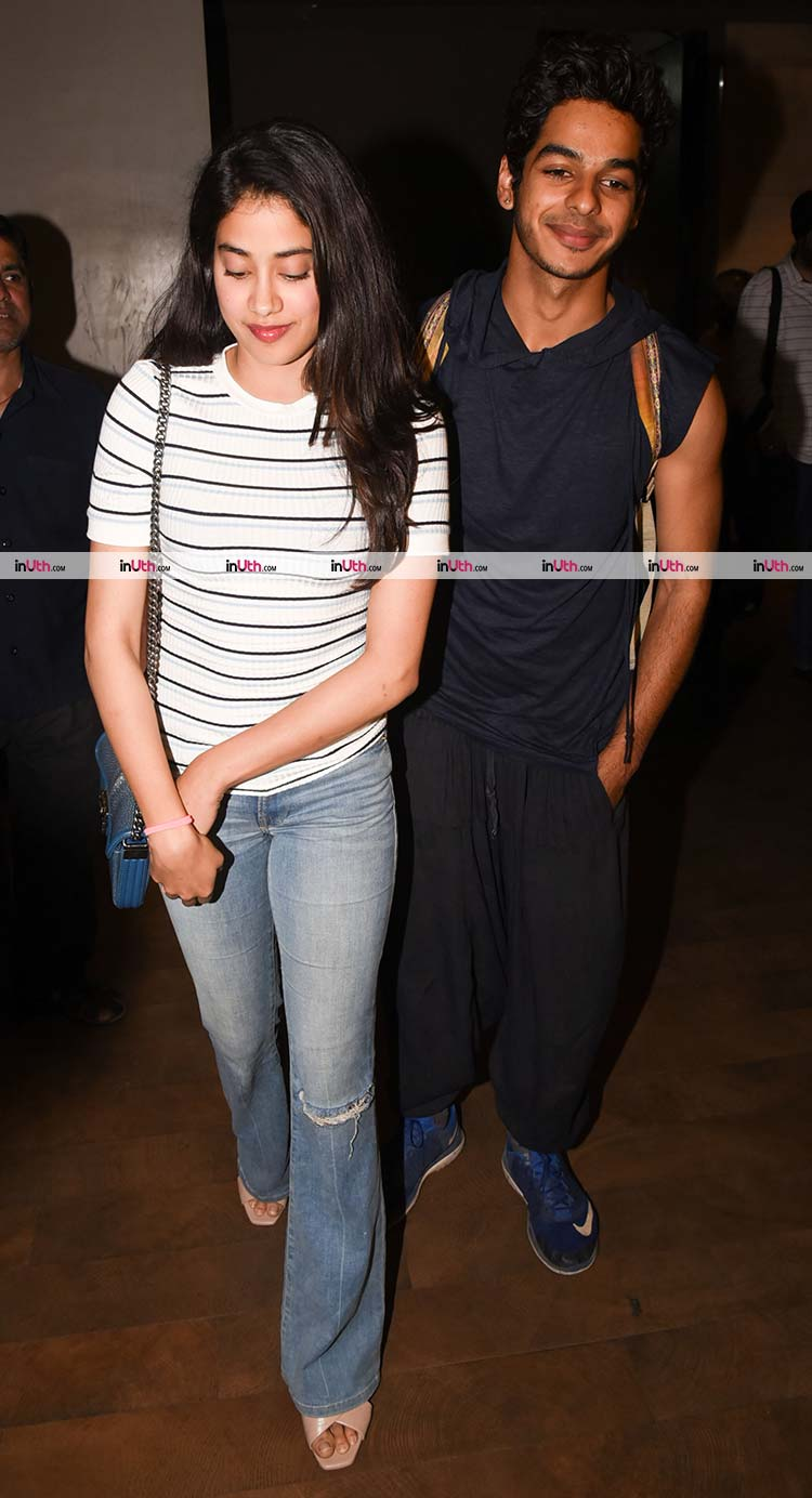 Jhanvi Kapoor blushing while being clicked with Ishaan Khatter