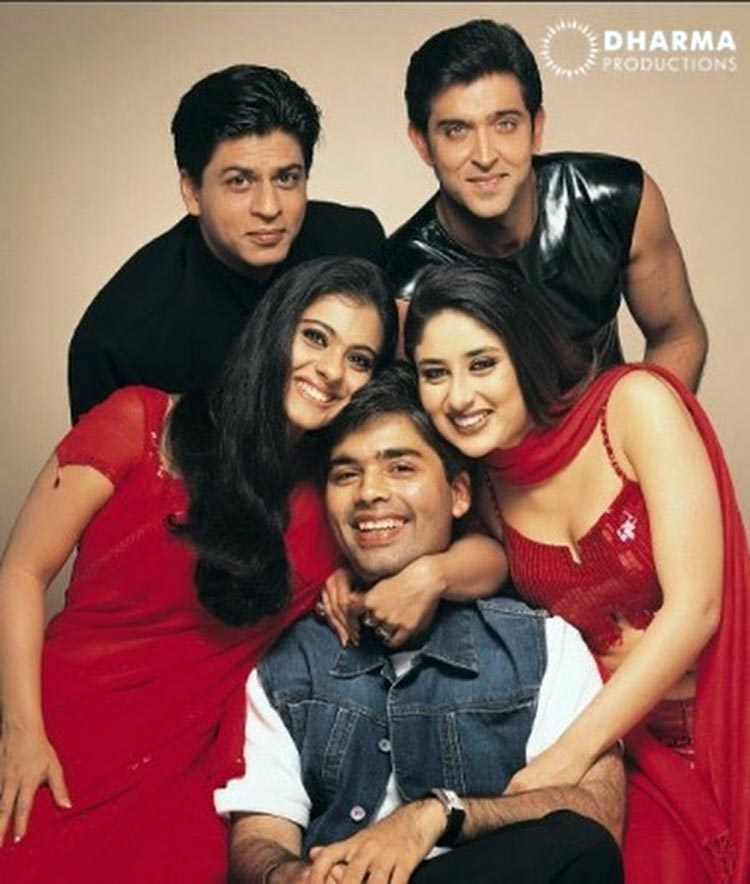 Karan Johar with the cast of Kabhi Khushi Kabhie Gham