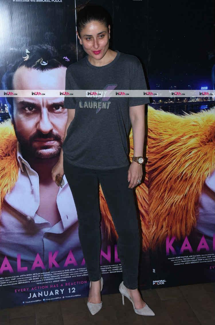 Kareena Kapoor with Saif Ali Khan's Kaalakaandi poster