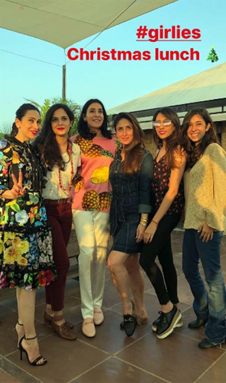 kareena and karisma kapoor with their cousins at kapoors ...