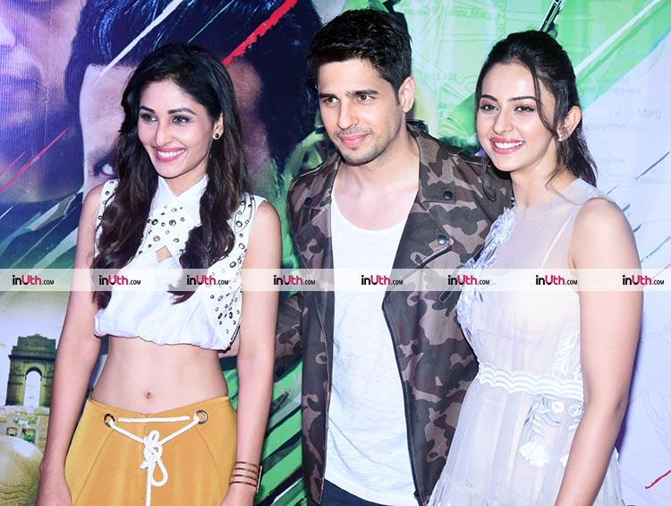 Sidharth Malhotra with Pooja Chopra and Rakul Preet Singh at Aiyaary trailer launch