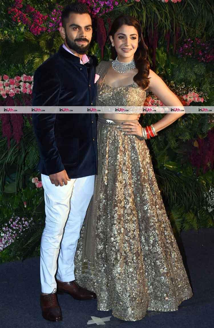 Virat Kohli and Anushka Sharma at their Mumbai wedding reception