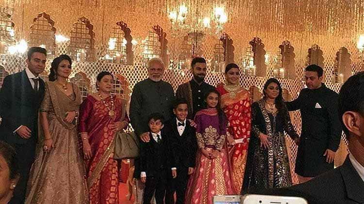 Virat Kohli and Anushka Sharma's family with Prime Minister Modi