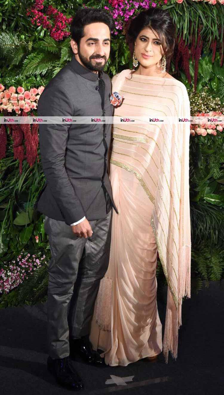 Ayushmann Khurrana with wife at Virat Kohli and Anushka Sharma's Mumbai reception