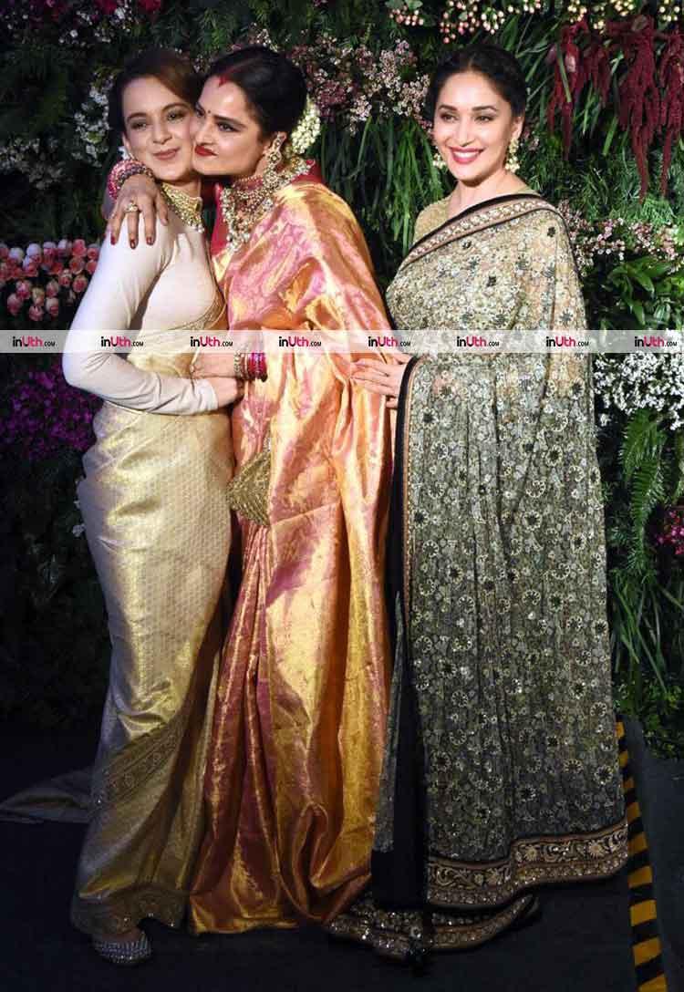 Kangana Ranaut with Rekha, Madhuri Dixit at Virat Kohli-Anushka Sharma's reception