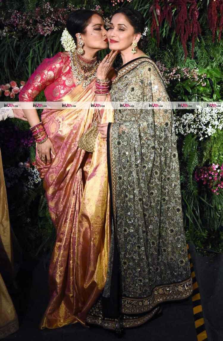 Rekha with Madhuri Dixit at Virat Kohli-Anushka Sharma's wedding reception