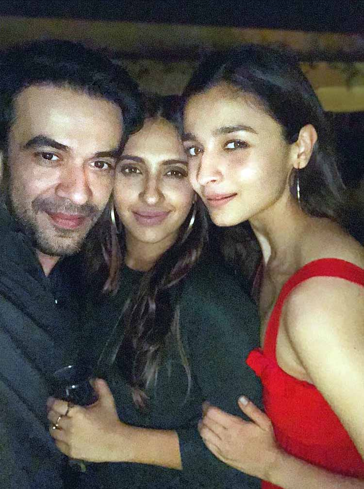 Alia Bhatt with Akansha Ranjan Kapoor and Punit Malhotra at Karan Johar's party