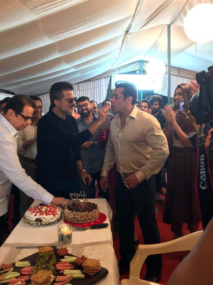 Anil Kapoor feeding his birthday cake to Salman Khan on Race 3 sets