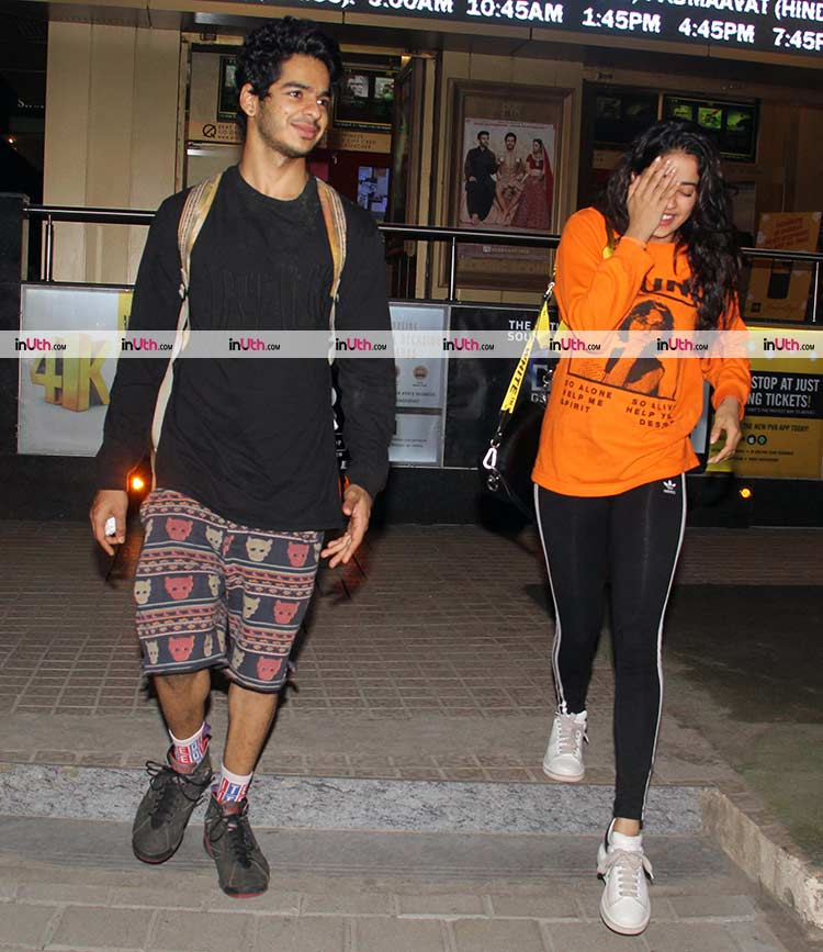 Janhvi Kapoor and Ishaan Khatter after watching a movie together