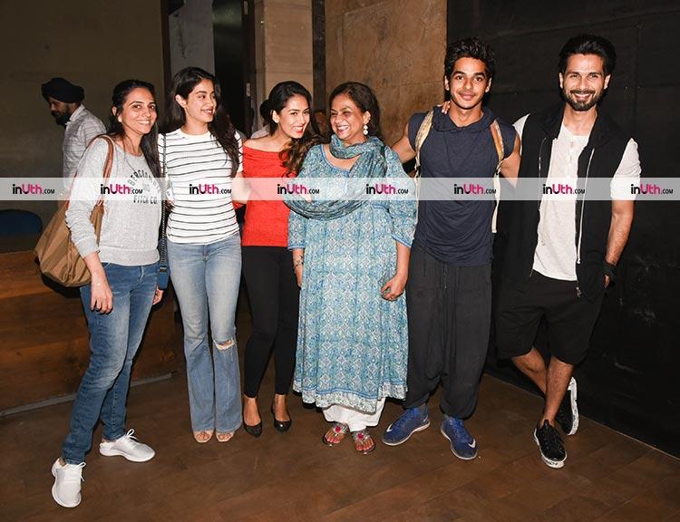 Jhanvi Kapoor with Ishaan Khatter and family at Tiger Zinda Hai screening