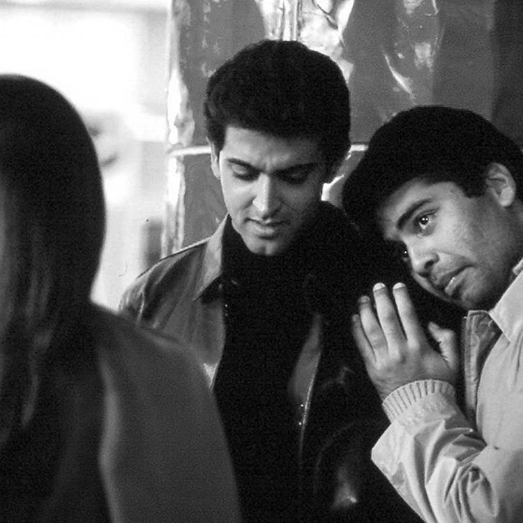 Karan Johar and Hrithik Roshan on the sets of Kabhi Khushi Kabhie Gham